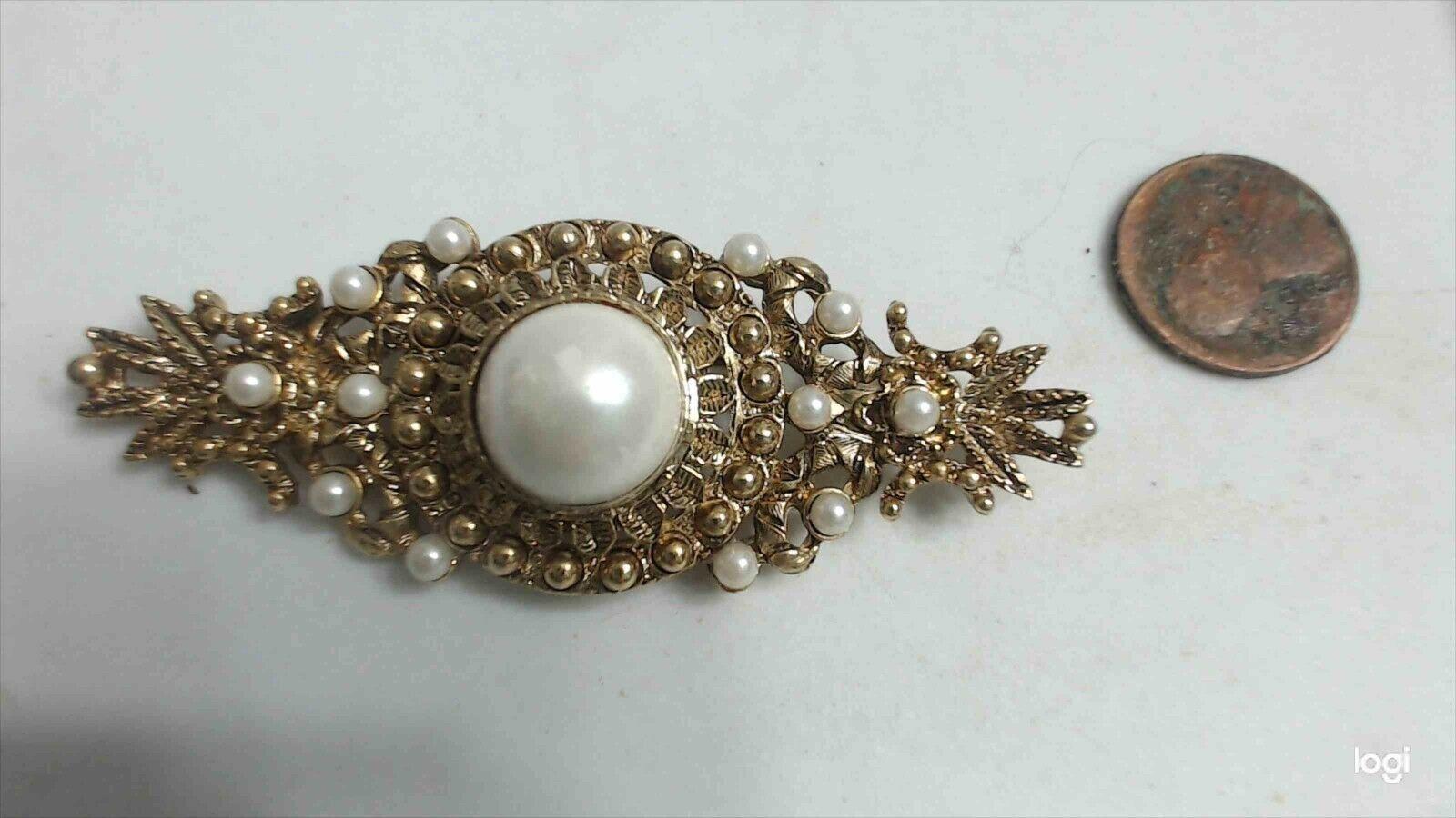 Vintage Baroque Gold Tone Faux Pearl Ornate Bar B… - image 2