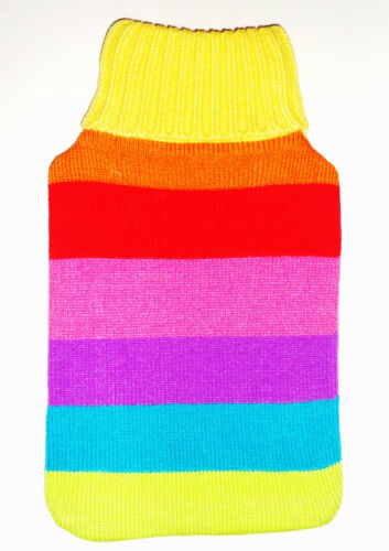 BRIGHT  CHEERIE  RAINBOW HOT WATER BOTTLE COVER LARGE  34cmX20cm  100/% ACRYLIC*