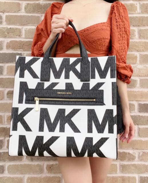 Michael Kors Kenly Large Tote Crossbody Optic White Graphic Logo Black MK Multi