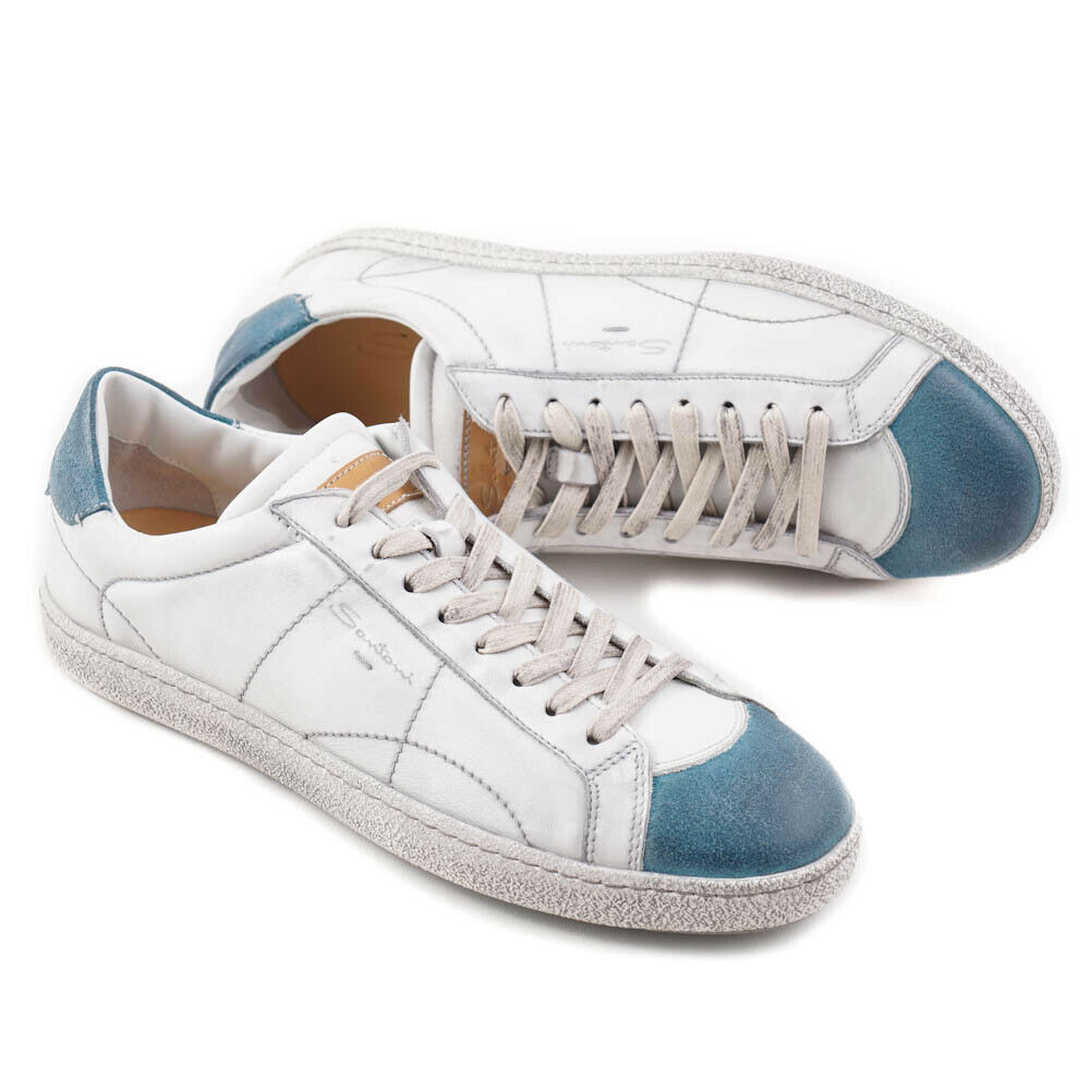 NIB  SANTONI White and bluee Vintage-Look Leather Sneakers US 9 shoes