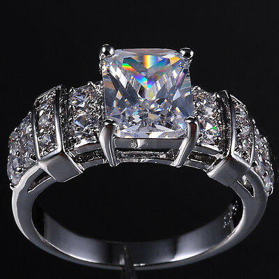 Women's Jewelry White Sapphire 10KT Gold Filled Wedding Ring Size 8-12