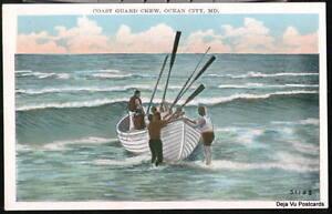 OCEAN-CITY-MD-US-Coast-Guard-Crew-Boat-Vintage-Postcard