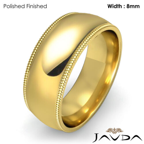 Women Plain Wedding Band 18k Yellow Gold Dome Milgrain Ring 8mm 10.3gm Sz 55.75