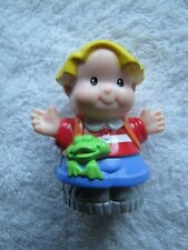 Fisher Price Little People EDDIE w/ FROG -- Interactive piece with silver base