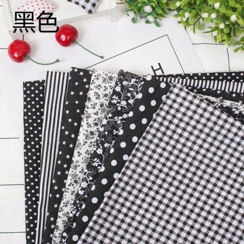 7 Pcs//Set DIY Colourful 100/% Cotton Fabric Assorted Pre-Cut Fat Quarters Bundle