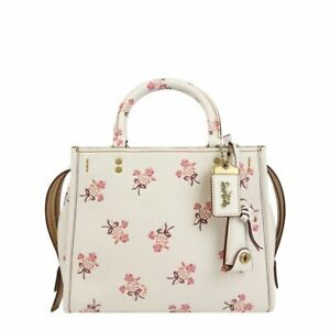 NWT-Coach-Bag-Rogue-Floral-Bow-Print-Bright-Leather-26836-Chalk-white