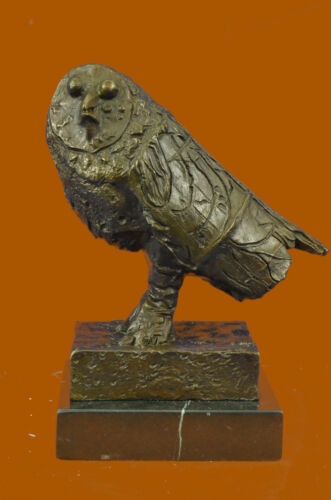 Vintage Bronze Marble Base Hot Cast Owl Bird Willife Sculpture Statue Lost Wax