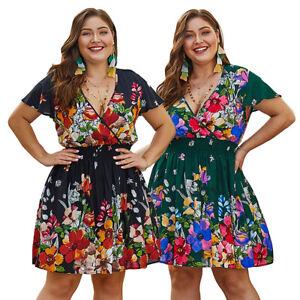 Plus-Size-Floral-Print-Boho-Dress-Summer-Women-Short-Sleeve-V-Neck-Mini-Dresses