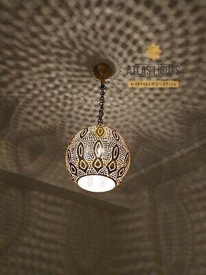 Moroccan Ceiling Brass Chandelier Hanging Lamp Pendant Light Vintage Antique Vtg Ebay
