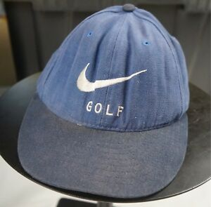 Rare Vintage NIKE Golf Swoosh Spell Out Golfers Strapback Hat Cap ... 82f72904745f