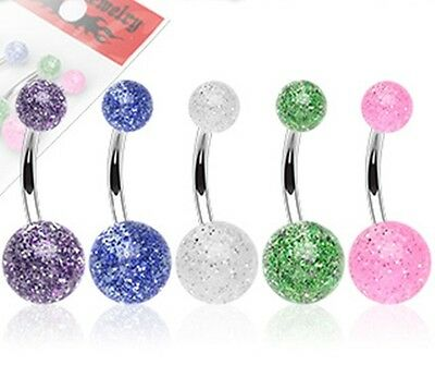 New Joblot Pack of 5 Glitter Ball Surgical Steel Belly Bar Naval Ring 5 pack
