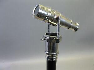 Gehstock-Wanderstock-LARP-mit-innenliegendem-Fernrohr-silbern-Fernglas-96-cm