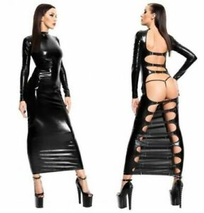 Women-Latex-Leather-Long-Dress-Wet-Look-Bodycon-Lingerie-Clubwear-Party-Costume