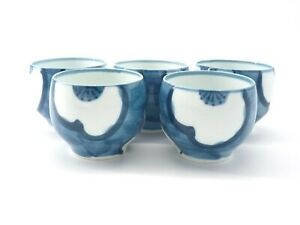 Vintage-Arita-Blue-amp-White-Fine-Porcelain-Tea-Cups-Set-of-5