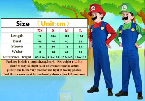 Unisex Super Mario Luigi Workmen Couples Cosplay Fancy Costumes Outfit Adult Kid