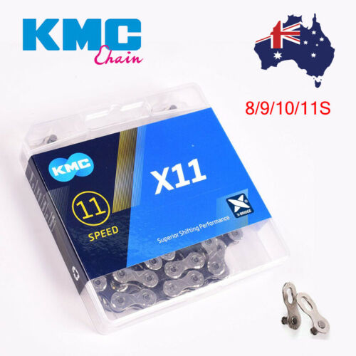 "KMC 8//9//10//11s MTB Road Bike 116//118 Links /""X/"" Bridge Sprocket Silver Chains AU"