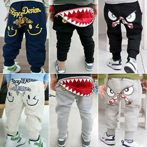 Baby-Boys-Girls-Cotton-Harem-Long-Pants-Sweatpants-Kids-Trousers-Jogger-Bottoms