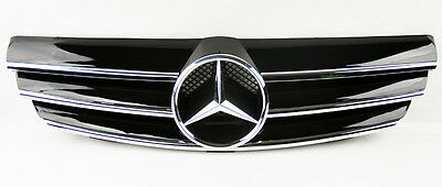 Mercedes CLK Class W209 03-09 3 Fence Front Hood Sport Gloss Black Grill Grille