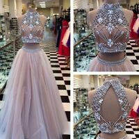 2016 Two Pieces Crystal Beaded Formal Evening Dress Party Pageant Prom Long Gown