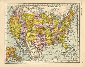 Details about 1930 MAP ~ UNITED STATES OF AMERICA ~ INSET NEW ORLEANS  CALIFORNIA ARIZONA IOWA