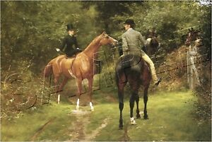 """AFTERNOON RIDE 1882 SIDESADDLE HORSE CANVAS Giclee Art Print - LARGE 19"""" x 13"""""""