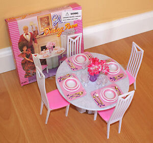 Details about GLORIA FURNITURE DOLL HOUSE 4 CHAIRS DINING ROOM TABLE CHAIRS  PLAYSET FOR BARBIE