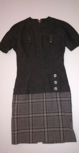 Vintage Grey Wiggle Dress Plaid with Dropped Waist