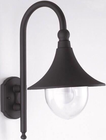 TYREEK APPLIQUE LAMPADA LANTERNA DA ESTERNO IN ALLUMINIO NERO 40 WATT