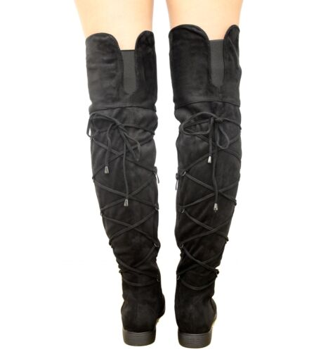 Ladies Thigh High Over The Knee Boots Womens Low Heels Gusset Lace Up Shoes Size