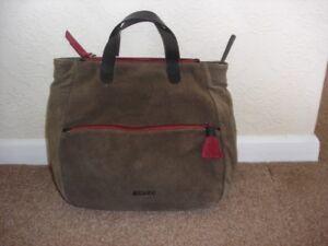 5d6669019ae7 Image is loading Abbacino-Brown-Suede-Leather-Cross-Body-Handbag