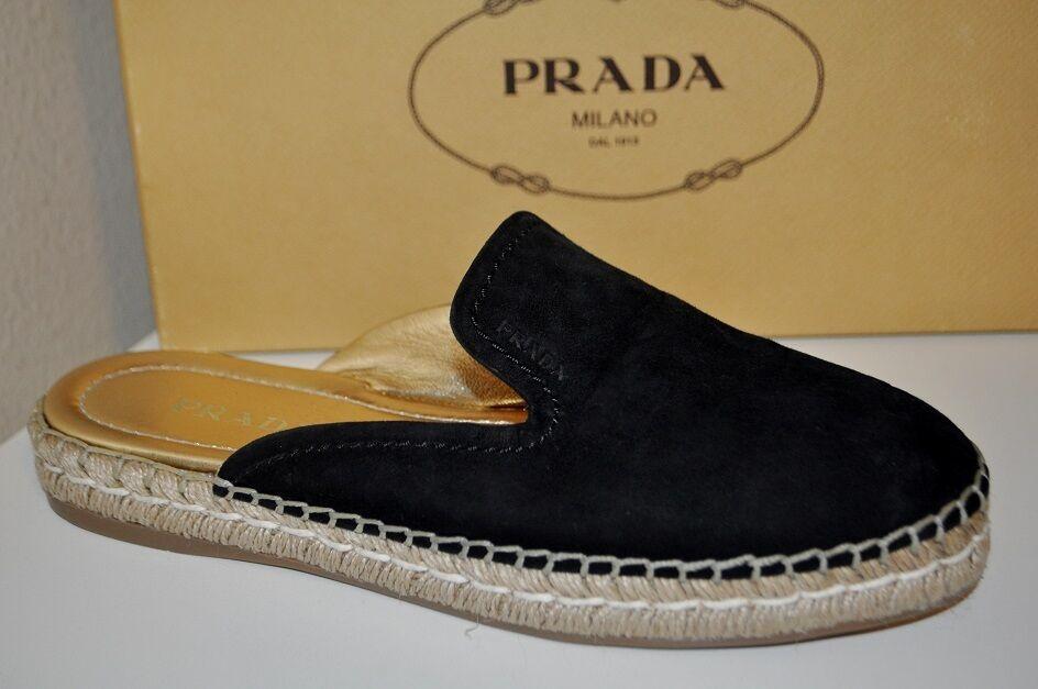 Nuevo Nuevo Nuevo En Caja  490 Prada Zapato Mocasín Zapato negro gamuza mula diapositivas plana 39.5 - 9.5  centro comercial de moda