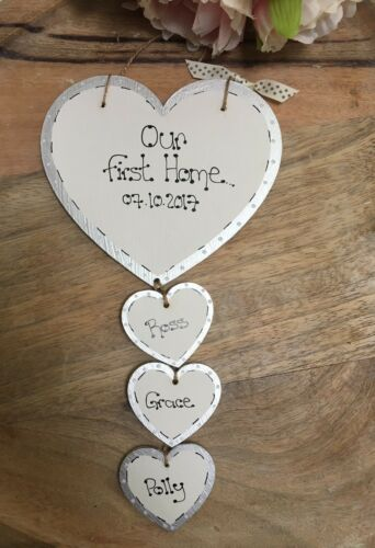 Personalised First Home Sweet Home sign plaque Heart gift,new home family Pet