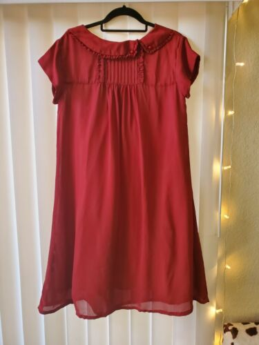 Womens Vintage 70s Short Sleeve Wine Red Ruffle Co