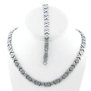 Hugs-amp-Kisses-Necklace-Bracelet-Set-Stampato-Stainless-Steel-Silver-Tone-18-20-039-039