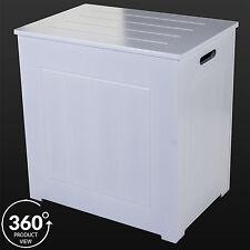 Item 3 Large Laundry Bin Basket White Wood Rectangle Hamper Bathroom Bedroom Hinged Lid