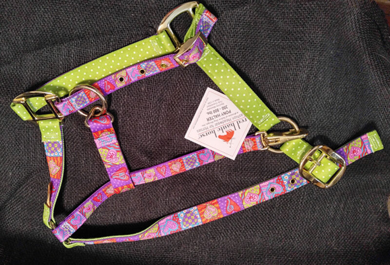 Crazy Hearts w Lime Green Polka Dots Accent Fashion Horse Halter