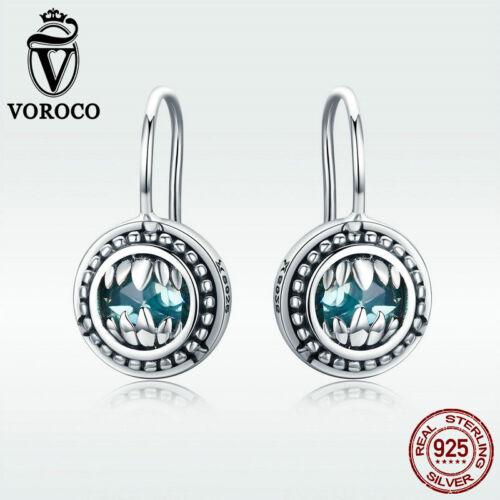 Voroco 925 sterling silver Hook Dangle Boucles d/'oreilles Bête Drop Femmes Unique Cadeau