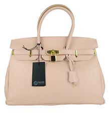 Women Lady Handbag Satchel Genuine Real Leather Togo Clutch birkin style bapink