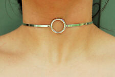 Mini Solid 925 Sterling Silver Neck Cuff  O ring Locking BDSM Slave Day Collar