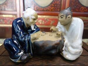 Vintage Classic Chinese Porcelain Figurine Statue Game Of Chinese