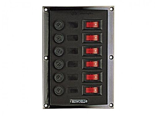 Schalttafel Schalter Bedienpaneel 6 Kippschalter mit Sicherungen 12 Volt