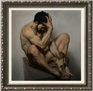 Hand-painted-Original-Oil-painting-art-Portrait-male-nude-on-Canvas-30-034-X30-034