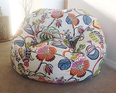 Floral Pattern In Black Background Pattern Bean Bag Without  Beans XXXL