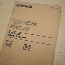 Cat Caterpillar 920 930 Wheel Loader Owner Operator Manual Guide Book Safety Use