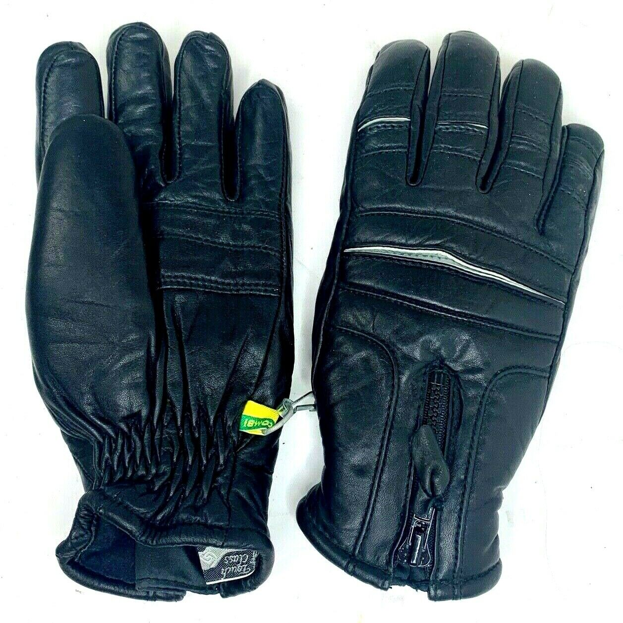 Vtg Kombi Mens Winter Gloves Black Leather Insulated Zip Closure Sport Outdoor S