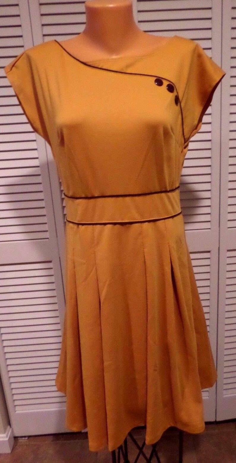 NWTD Retrolicious Topiary Tour Dress in Marigold Women's Dress Sz L