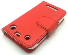 Red Leather Wallet Flip Pouch Case Cover BlackBerry Curve 9370 9360 9350