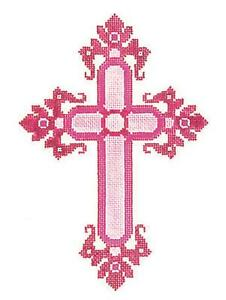 "*NEW* Elegant 7"" tall PINK & WHITE CROSS handpainted Needlepoint Canvas by LEE"