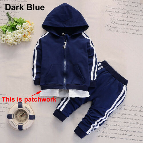 Baby Kid Toddler Boys Hooded Tops+Pants Outfits Tracksuit Sport Coat Clothes Set