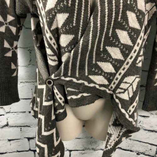 Tribale Cardigan M Italy Boho Med Grigio Made In Poncho Maglione Asimmetrico Donna z1Ya1
